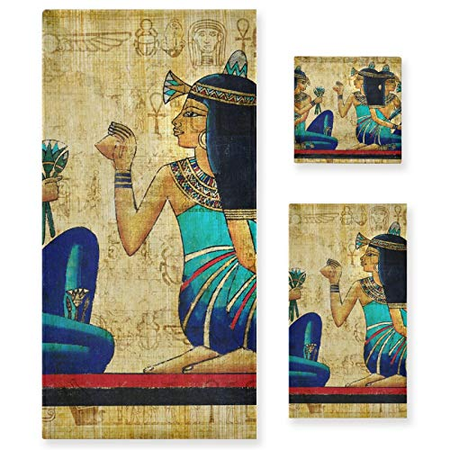 Pixiuxiu - Juego de 3 toallas de algodón altamente absorbentes de secado rápido para mujer egipcia, toallas de baño, toallas de mano para uso diario