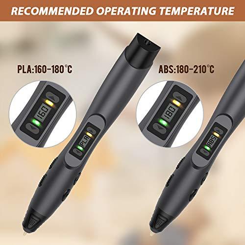 3D Stift, Aerb 3D Pen Stift mit 1,75mm PLA/ABS Filament, 8 Einstellbare Geschwindigkeit mit LCD-Bildschirm 3D Printing Pen für Kinder Erwachsene, Bestes Geschenk für DIY, Kritzelei, Zeichnung und Kunst & Handgefertigte Werke - 4