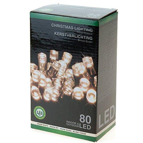 Lichterkette mit 80 LEDs Warmweiss für Innen- und Außen