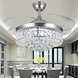 Crystal Ceiling Fans with Lights,42 Inch LED 3 Color Remote Control...