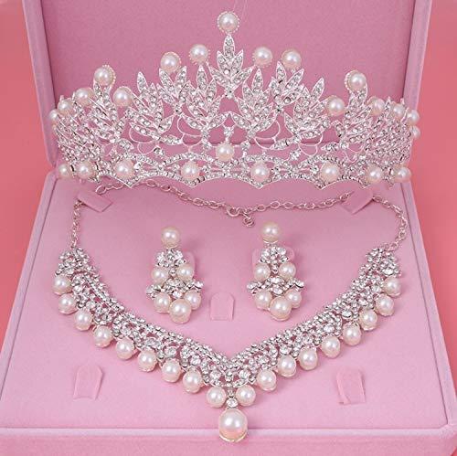 YMKMM Ensemble De Bijoux Bride Crystal Pearl Costume Jewelery Sets Rhinestone Choker Necklace Earrings Tiara Bridal Women Wedding Jewelry Set