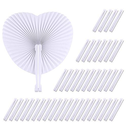 TUPARKA 60 Pack en Forma de corazón abanicos de Papel Plegables Mano...