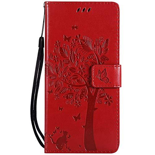 Hancda Hülle für Samsung Galaxy A40, Schutzhülle Leder Handytasche Flip Hülle Handyhüllen Lederhülle Tasche Dünn Silikon Hülle Magnet Cover für Samsung Galaxy A40,Hülle Rot