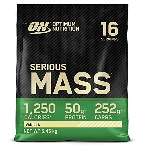 Optimum Nutrition Serious Mass Gainer, Proteine Whey in Polvere per Aumentare la Massa Muscolare con Creatina, Glutammina e Vitamine, Vaniglia, 16 Porzioni, 5.45 kg, il Packaging Potrebbe Variare