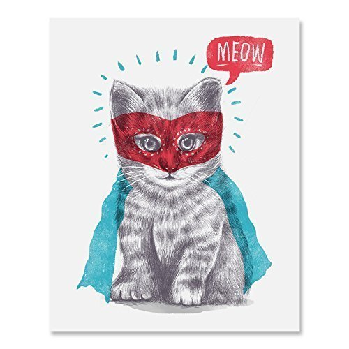 Super Hero Cat Art Print Cute Masked Superman Caped Kitty Animal Poster Home Decor Funny Meow Illustration 8 x 10 inches