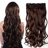 SEGO Extension a Clip Cheveux Pas Cher Rajout Syntetique Monobande Meche Boucle Longue - 60 CM Auburn Ombré [1 Pièce 5 Clips]