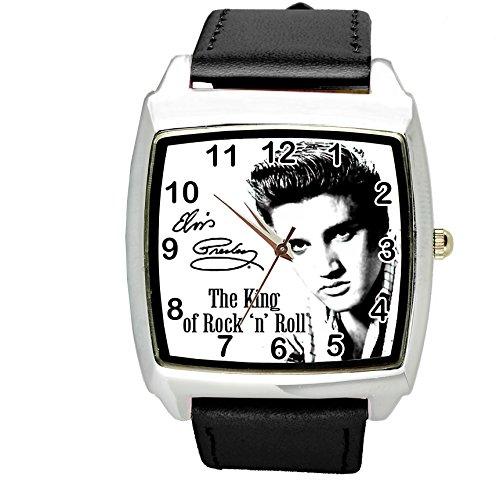 TAPORT® Unisex Uhr Analog Quarzwerk mit Leder Armband Elvis Presley E1 Schwarz Quadrant