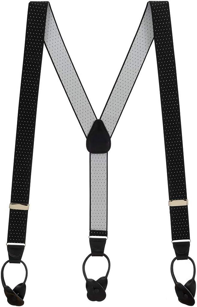 Men's Woven Pin Dot Button Suspenders