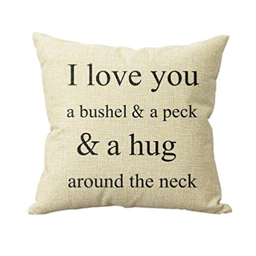 Fossrn Fundas Cojines 45x45 I Love You A Bushel And A Peck ' Frase Funda de Cojines para Sofa Jardin Cama Decorativo (01)