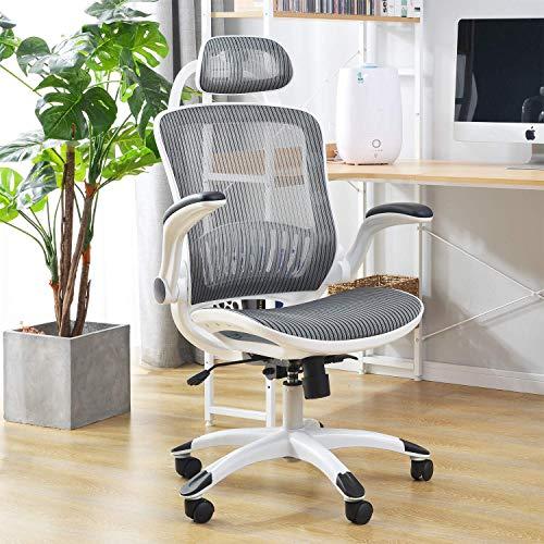 Home-Office-Stuhl, ergonomischer drehbarer Schreibtischstuhl mit Armlehne, Kopfstütze und Lordosenstütze, Verstellbarer Netz-Computerstuhl mit Wippenfunktion, Tragfähigkeit von 150KG