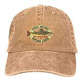 shenguang Fish More Work Less Casquette Baseball Dicer Vintage Ajustable Casquette Cap Sombrero de Vaquero Función de sombreado Unisex