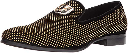 STACY ADAMS mens Swagger Studded Ornament Slip-on Driving Style Loafer, Black/Gold, 11.5 US