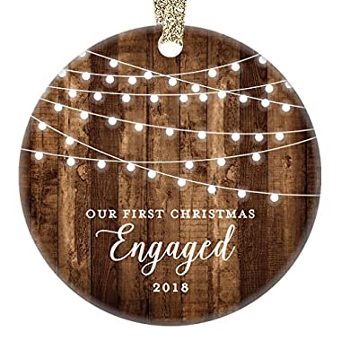 Engagement Keepsake Gifts 2018, First Christmas Engaged Ornament, Rustic Newly Engaged Couple 1st Xmas Farmhouse Collectible Woodgrain Present 3  Flat Circle Porcelain w/Gold Ribbon & Free Gift Box