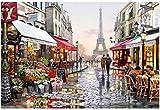 Pintura por Números Kit De Pintura Al Óleo Pintada A Mano para Niños Adultos con Bricolaje, Vista De La Calle De París con 3 Pinceles Y Pinturas Acrílicas De 40 * 50 Cm (Sin Marco)