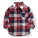 OCHENTA Little Boys' Girls Flannel Shirts, Long Sleeve Gingham Plaid Shirt Tops for Kids E006 Red Blue Tag 90CM - 24M