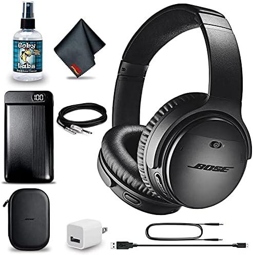 Bose QuietComfort 35 Series II Wireless Noise-Canceling Headphones (Black) + Power Bank + Headphone Cleaner + USB Adapter + Headphone Extension Cable + MicroFiberCloth – Advanced Bundle (Renewed)