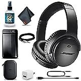 Bose QuietComfort 35 Series II Wireless Noise-Canceling Headphones (Black) + Power Bank + Headphone Cleaner + USB Adapter + Headphone Extension Cable + MicroFiberCloth - Advanced Bundle (Renewed)