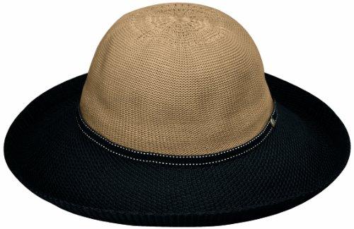 Women's Victoria Two-Toned Sun Hat – UPF 50+, Adjustable, Camel/Black