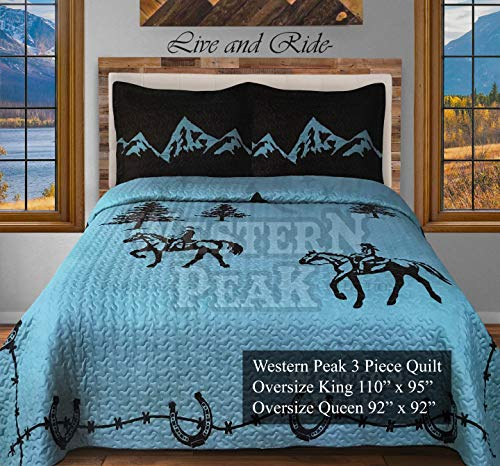 Western Peak 3 Pc Luxury Western Texas Cross Praying Cowboy Horse Cabin Lodge Barbed Wire Quilt Bedspread OVERSIZE Comforter (Oversize Queen, Turquoise Cowboy)