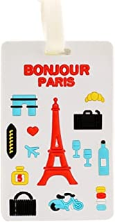 Cute Silicone Characters/Animals/Pirate Ship/London/Paris/Hlland Luggage Tags/ID for Travel and School (Paris)
