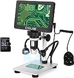ESSLNB Microscopio 7' LCD Microscopio Digitale 1080FHD Immagine con 32G Carta Telecomando 8 Luci LED Regolabili&2 Luci di Riempimento Supporto in Metallo Ricaricabile Batteria al Litio