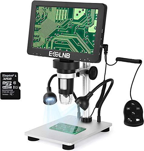 ESSLNB Digital Mikroskop 7 Zoll 1080P HD mit 32GB und Fernbedienung Kamera Video Recorder 8 LED Licht für Windows Mac