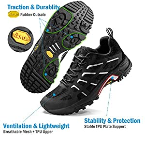 Wantdo Women's Lightweight Trail Running Shoes Hiking Shoes Athletic Sneakers Black 9 M US