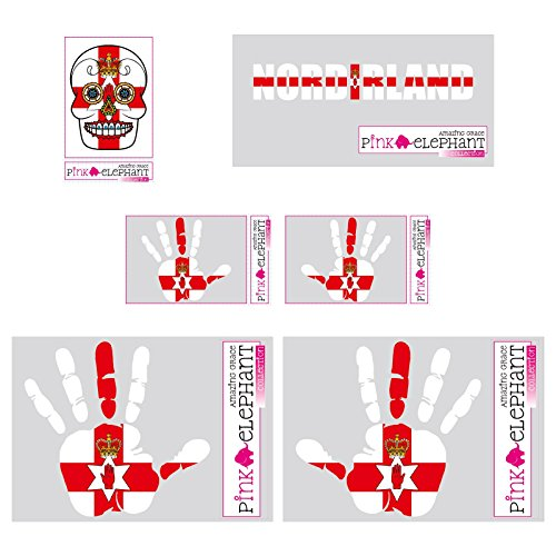 pinkelephant Aufkleber-Set - Nordirland - Hand - Fahne - Sugar Skull - A4 - finger print palm slap Handabdruck mano