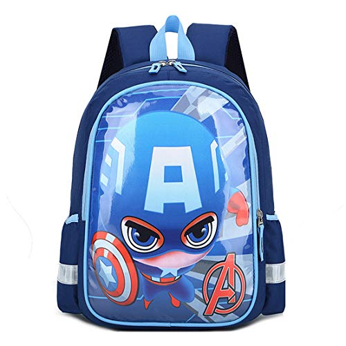 ZYYNET Children's Backpack Superman Elementary School Student Bag Durable Boys Girls Bookbag Lightweight Teens Rucksack for Teens 6-9 Years Old,Captain America-One Size