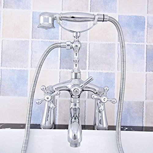 Hermanhao Polierte Chrom Messing Doppelgabel Griff Deck montiert Cleopatra Füße Badewanne Wasserhahn Wasserhahn mit Dusche mtf754