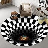 Alfombras redondas de la ilusión visual de la estera 3d, manta antideslizante creativa de la sala de estar de la estera de Halloween Navidad