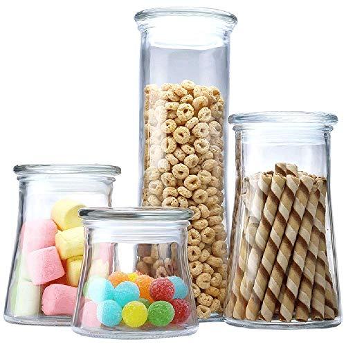 DPFXNN Luchtdichte blikken, BPA Gratis Hoge Borosilicaat Glas Cookies Pot, Cilinder Granen Container met Sealing, Voor Bulk voedsel opslag Set van 3.
