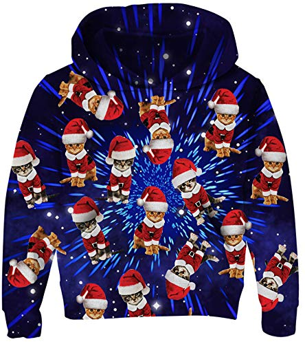 Kids Hoodies Ugly Christmas Sweatshirt for Boys Cute Cats Print Pullover 3D Blue Galaxy Digital Jacket Tops with Pocket Girls Sports Outfits with Thin Lining 5-6 Years M
