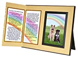 Pet Lover Remembrance Gift, Rainbow Bridge Poem, Memorial Pet Loss Picture Frame Keepsake and Sympathy Gift Package, Ginger with Foil Accent