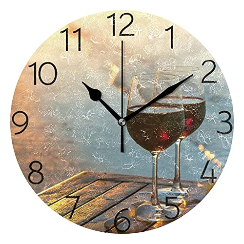 BAIYIN Romántico vino tinto en la playa puesta de sol, reloj de pared redondo silencioso, reloj decorativo para dormitorio, oficina, cocina, decoración del hogar
