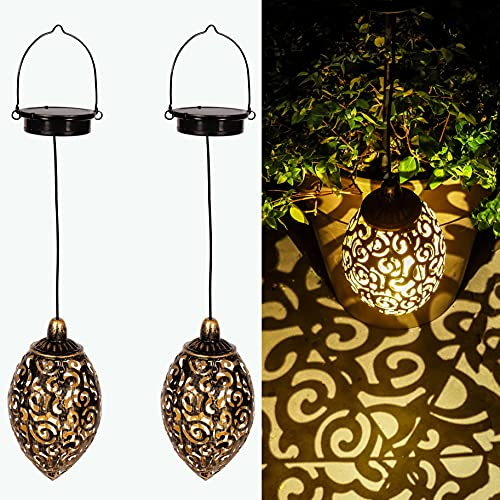 Gadgy Set de 2 Farolillos solares | para decoracion jardin exterior | Lampara marroqui con efecto de sombra | Adornos impermeable para colgar