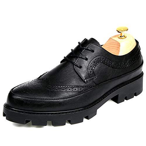 IWGRWU Leder Herren Business Oxford Casual Mode Höhe Zunehmende Einlegesohle Konventionelle und Lackleder Brogue Schuhe Mode Slipper Schuhe (Color : Schwarz, Größe : 38 EU)