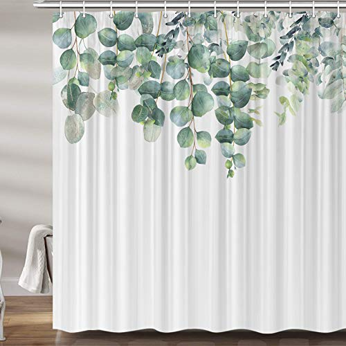 Green Eucalyptus Leaves Shower Curtain for Bathroom, Cute Boho Greenery Plant Leaf Fabric Shower Curtains Set, Spring Fresh Watercolor Restroom Decor Accessories, Hooks Included 72X 72Inch