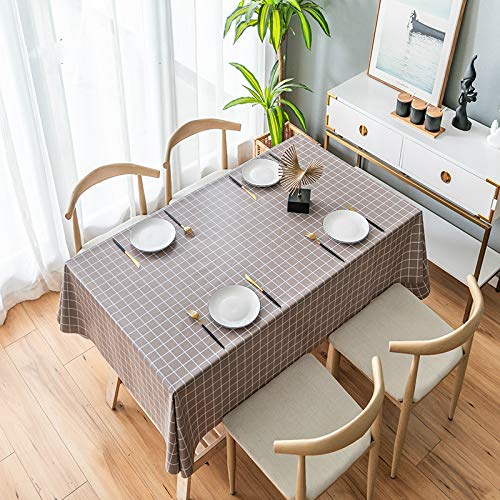 YOUYUANF Tablecloth Plastic Rectangular Christmas Linen Rectangular oil cloth PVC wipe clean tableclothCoffee color140x220cm