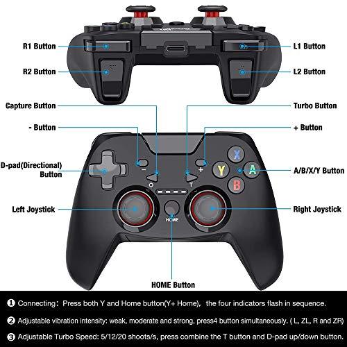 FANMU - Interruptor inalámbrico para Nintendo Switch, mando a distancia con mando a distancia ajustable Turbo Dualshock, compatible con Bluetooth de DinoFire