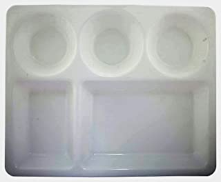 LIFEPLAST Anti-Damage Microwave Safe 5 Compartment Divided Polypropylene Dinner Plates -Set of 6 (White)