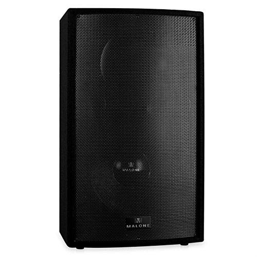Malone PW-MON-15A - aktive PA Box, 2-Wege-Lautsprecher, Monitorlautsprecher, 1500 W max, 15\'\' Subwoofer, Mikrofon-Sektion, 2-Band Equalizer, Echo-Effekt, geeignet zum Stativ-Aufbau, schwarz
