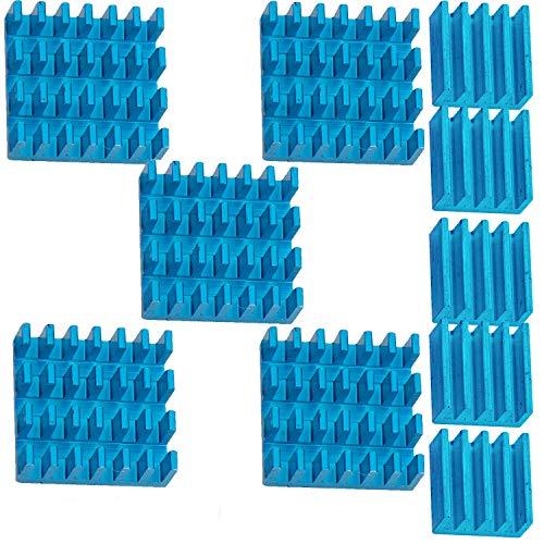 AZDelivery 5 x Set Passivo Alluminio Dissipatore blu In diverse misure per Raspberry Pi Modello A + B – da incollare