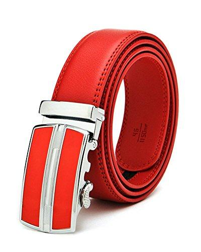 SAMGU Ceinture automatique mode pour hommes en cuir avec boucle de courroie de ceinture de cuir rouge hommes