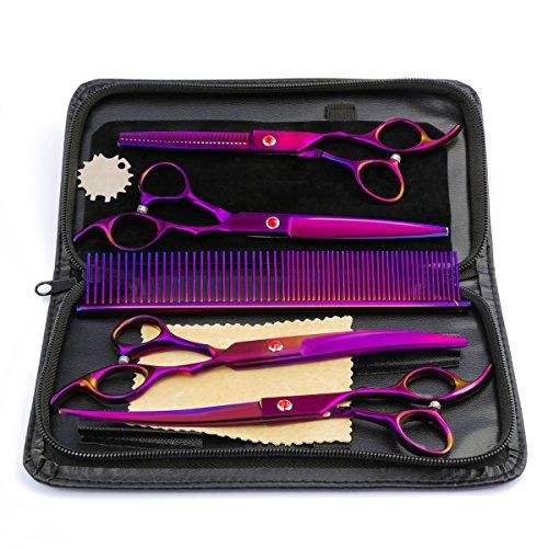4Pcs / Set Professional Salon Barber Scissors Coffres de Coiffure Tool Kit Finition électrolytique avec Peigne pour Coiffure Hair Styling Pet Grooming 7.0\