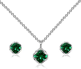 Sterling Silver Genuine or Synthetic Gemstone 6mm Round Fancy Solitaire Pendant Necklace and Stud Earrings Set for Women