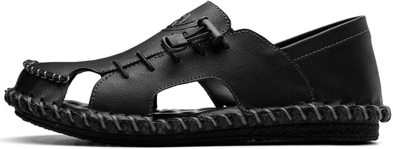 Chanclas Deportes Al Aire Libre Sandalias shoes para men Pilot Men's Summer Men's shoes Casual Cave Baotou Leather Sandals Half Slippers Beach Men's Tow