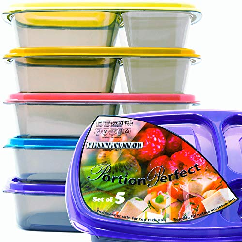 Portion/Perfect 3 Compartment Meal Prep Containers - Super Tough, Airtight, 40% Thicker BPA Free Bento Box For Adults | Reusable & Guaranteed Not To Melt in Microwave Or Dishwasher | New Set Of 5