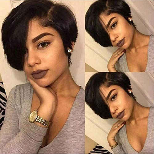 Short Lace Front Wigs Pixie Cut Wig Straight Brazilian Remy Hair Wigs Glueless Lace Front Human Hair Wigs Pre Plucked (pixie lace front wig)