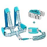 Borje Safety Child Anti Lost Wrist Link Harness Strap Rope Leash Walking Hand Belt (Blue)